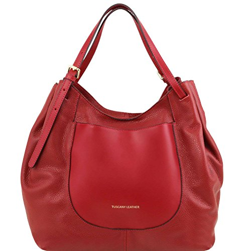 Tuscany Leather - Cinzia - Sac shopping en cuir souple - Rouge