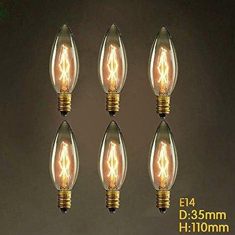 6 Stück e14 25w c35 brenn Spitze des gelben Licht 220v Edison-Glühbirne kleinen lo lo retro Lichtquelle