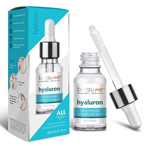 BEAUME® Hochkonzentriertes Hyaluron Serum mit Hyaluronsäure, Hydromanil(TM) Komplex und Reisextrakt, 30ml - aktive Verjüngung & langanhaltende Hydratation für jedes Alter