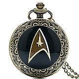Star Trek Logo color negro con elementos decorativos frontera de Bronce Antiguo Efecto Retro/Vintage caso hombres de cuarzo reloj de bolsillo collar–en 32pulgadas/80cm cadena