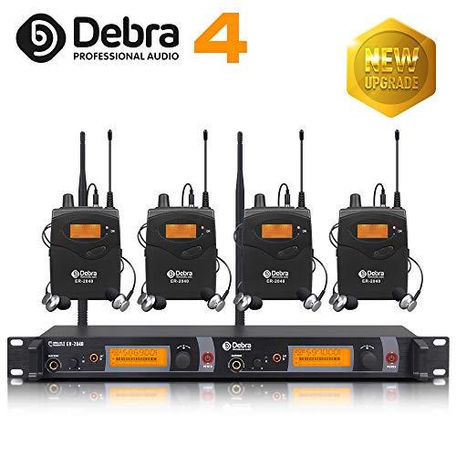 Beste Klangqualität! Professionelles UHF-In-Ear-Monitor-System Dual Channel Monitoring ER-2040 Typ für Bühnenaufzeichnung Studioüberwachung (SR2050 Update-Typ) (mit 4 Empfänger)