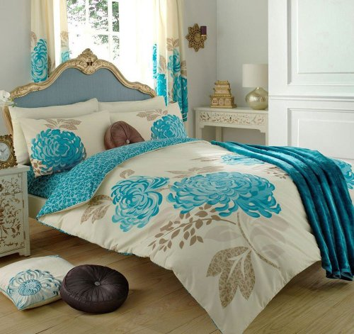 teal flower king size duvet set with matching curtains 66 x 72