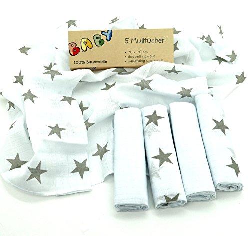 Baby Mulltücher 5 Stück im Set 70x70 cm mit Sternen in taupe 100% Baumwolle Spucktücher Musselin Mullwindeln ÖKOTEX Typ486
