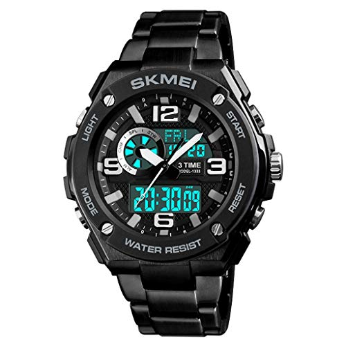 Digitaluhr für Herren, Outdoor-Sport-Analoguhr mit Wecker/Timer (Color : A)