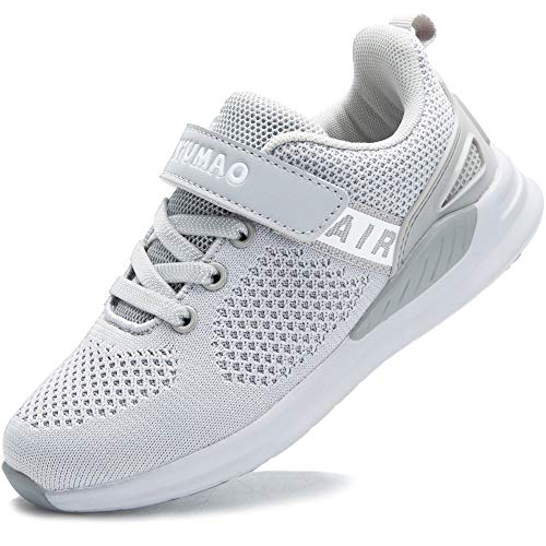 GUFANSI Turnschuhe Jungen Sportschuhe Mädchen Hallenschuhe Kinder Kinderschuhe Sneaker Outdoor Laufschuhe für Unisex-Kinder Schuhe, Grau, 34 EU