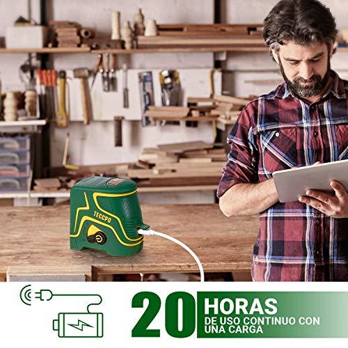 Nivel Láser Verde 30m TECCPO, USB Carga, 120° Horizontal y Vertical, Líneas Cruzadas, Autonivelación y Función de Pulso, Soporte Magnético, 360° Giratorio, IP54, Bolsa Acolchada - TDLS09P