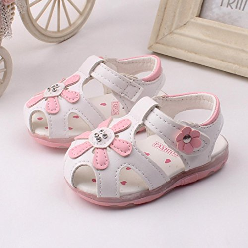 Culater® Bambino Nuovi girasole ragazze sandali illuminato suola morbida principessa Shoes bianca