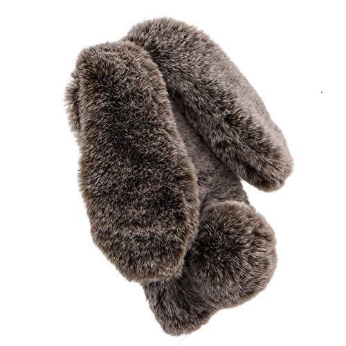 Miagon Handyhülle für Samsung Galaxy A20e,Super Weich Winter Warm Lustig Hase Ohren Kunstpelz Plüsch Fluffy Flexibel Handytasche Schale für Samsung Galaxy A20e -