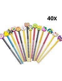 40pcs HB Lindo Lápices Infantiles con Borrador de Dibujos Multicolores, Lindos útiles Escolares para Preescolares
