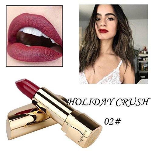 Rouge à Lèvres, Tefamore Matte Imperméable Longue Durée Lip Femmes Or Cosmétique Beauté Maquillage (2#)