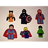 Leg o Superheroes Marvel Hulk Spiderman Shoe Charms Set of 6, Shoes, Crafts, Cake Toppers * 114 *