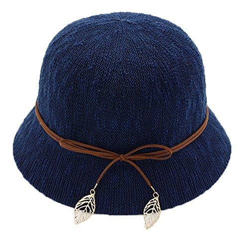 Chapeau de pêcheur Chapeau Cloche Dames Filles Bowknot De plein air Plage Été Chapeau de soleil bleu foncé