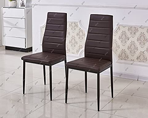 Slim Line Faux Leather Dining Chair High Back Foam Padded Home Kitchen Room Restaurant Furniture (2 Chair,