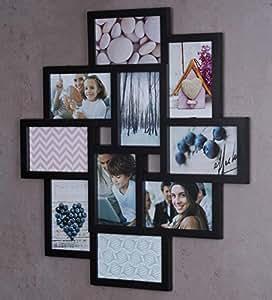 fotocollage bilderrahmen 55x50 mit glasscheiben f r 10 fotos 10x15cm schwarz fotogalerie. Black Bedroom Furniture Sets. Home Design Ideas