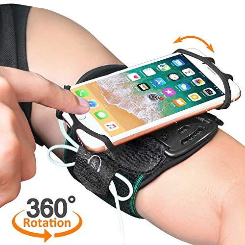 Bovon Brazalete Deportivo, Brazalete Movil Súper Transpirable para iPhone X XS MAX XR 8 7 6S Plus, Galaxy Note 9 S9 Plus, Rotación de 360° para Teléfono con Bolsillito de Llaves para Correr Montar