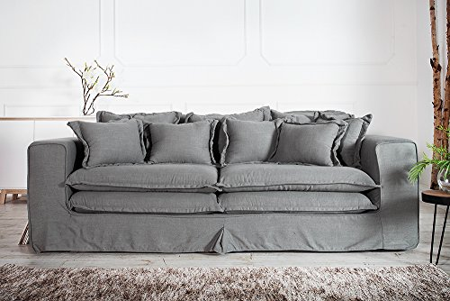 xxxl hussensofa cloud grau leinen stoff hussen sofa wohnlandschaft couch wohnzimmer. Black Bedroom Furniture Sets. Home Design Ideas