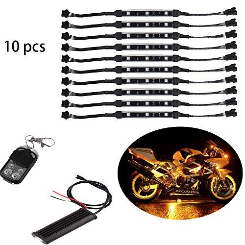 Unterbodenbeleuchtung mit RGB-Controller, für Motorrad, flexible Leuchtstreifen, LED, in Millionen verschiedenen Neonfarben, 10 Stück (Bitte länderspezifische Rechtsvorschriften beachten)