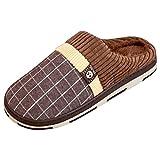 Sasairy Zapatillas de Estar por Casa de Algodón Antideslizante Calentar Zapatos de Casa Zapatillas de Invierno para Hombres