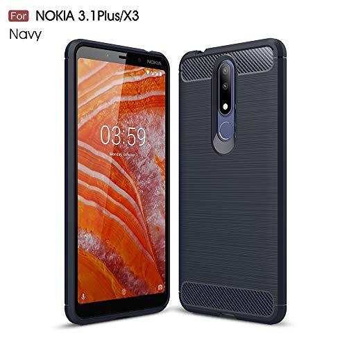 ZHENGYIXIA CASES Für Handytaschen & Hüllen für Nokia 3.1 Plus/Nokia X3 Ultraleichte Kohlefaserpanzer Shockproof Brushed Silicone Grip Case (Farbe : Marine)