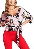 YHUJH Sommer Tops Damen V-Ausschnitt 3 4 mit Arm Hemd T Bandagen Blumen Spezielle Art Print Vintage Bluse Tops Shirts (Color : Rosa, Size : M)