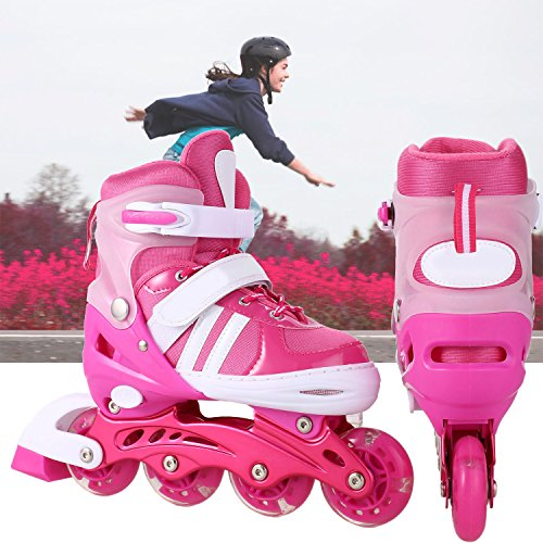 Hiriyt Leucht PU Räder Inline-Skates, Rollerblades für Kinder, größenverstellbar von 31 bis 42, ideal für Anfänger, komfortable Rollschuhe, Inliner für Mädchen und Jungen (Rose rot, EU 31-34)