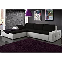 JUSThome Picanto Mini Sofá esquinero chaise longue función de Cama Tejido / Cuero sintético Tamaño 263x173x85 cm 1115 Blanco / L-15 Brazo izquierdo