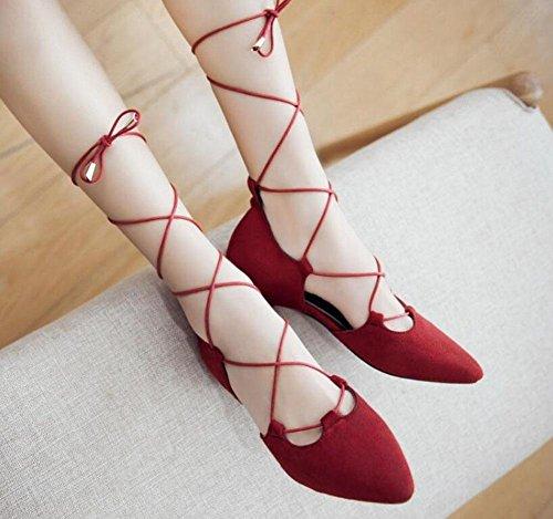 SHINIK Femmes Pompes à sangle de cheville Suède Pointu Sandales à talons compensés Red