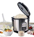 Cuoci Riso | 1,8L Capacità | 700Watt di potenza | funzione scaldavivande | interno pentola | misurino | riso Cucchiaio | Vaporiera | Struttura in alluminio spazzolato
