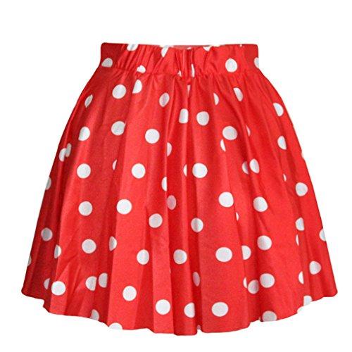 SEVENWELL Frauen Hübsch Flecken Grundlegende Vielseitige Dehnbar Flackerten Röcke Rot MEHRWEG Nr.2