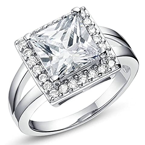 AMDXD Jewelry Gold Plated Women Engagement Rings Silver Square Cubic Zirconia Size R 1/2,Gift For