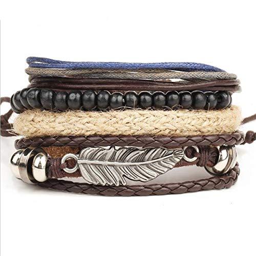 Armband Armreif, Schmuckgeschenk,Braided Wax Rope Bracelets Men Multilayer Strand Beads Angel Wings Armband Armreif Steampunk Male Jewellery