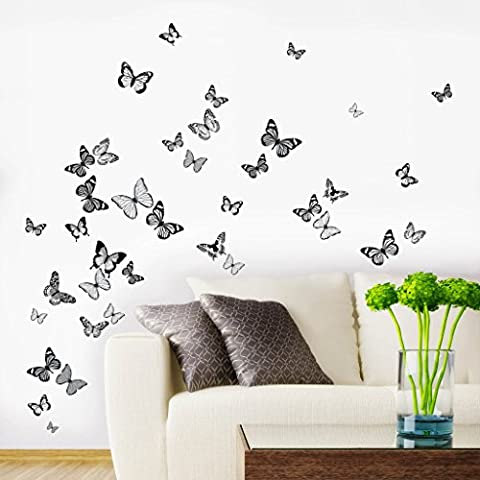 Butterfly Flutter Black, Grey & White Printed Wall Art Vinyl Stickers - Pack of 38 - Designed by Rubybloom