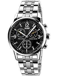 Malloom® Hombres de acero inoxidable Banda de cuarzo analógico reloj del deporte negro