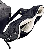 Kinderwagen Handschuhe, Volador Wasser- und Windabweisend, Atmungsaktiv Universalgröße Handwärmer Mit/Handmuff für Kinderwagen Buggy Radanhänger (schwarz)