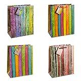 TSI 84311 Sacchetti da Regalo, 4 Motivi a Righe Multicolori, Misura 32 X 26 X 13,5 Cm, Confezione da 12 Pezzi