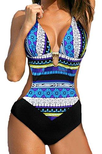 Donne in bikini top floreali un pezzo del costume blue m