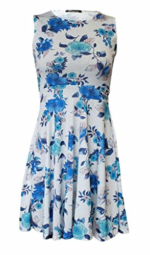 Women Ladies Sleeveless Scoop Neck Floral Asymmetric Aztec Dot Multi color Hanky Hem Knee Length Midi Flared Swing Casual Skater Party Dress Top Plus Size XL XXL XXXL 8 10 12 14 16 18 20 22 24 26