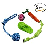 Perrito mascota perro juguetes de cuerda de algodon para razas peque?as a medianas (paquete de 5)