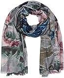 styleBREAKER Damen Schal mit Metallic Blumen Muster und Fransen, Stola, Tuch 01017094, Farbe:Grau-Dunkelblau-Rose