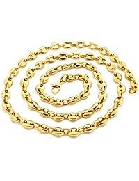 BOBIJOO Jewelry - Collier Chaîne Grain de Café Homme Femme Acier INOX Plaqué  Or 4 Tailles 72eadba46c7