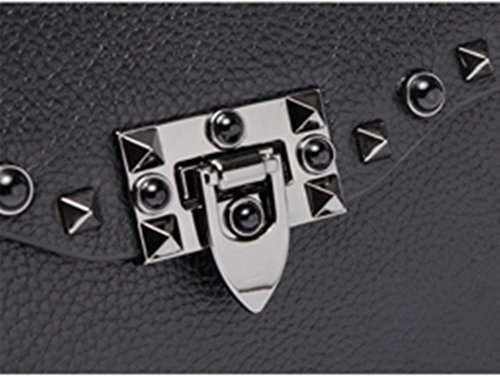 ZXH Schulter diagonal breiten Schultergurt Handtaschen aus echtem Leder Handtaschen Mode Nieten Ledertaschen Handytasche A