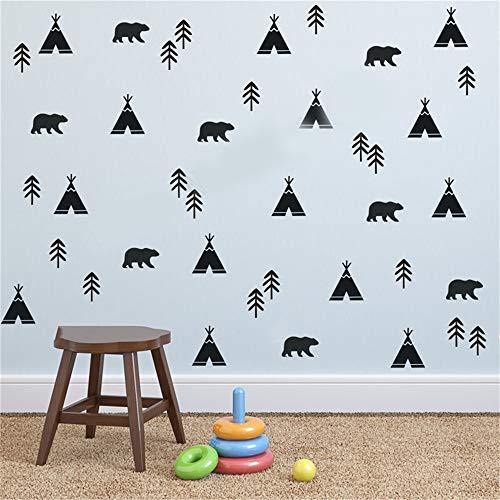 wandaufkleber kinderzimmer sterne Zimmer gemischte Muster Wand Dekor Aufkleber kleine Aufkleber Tribal Tipi Zelt trägt Bäume (Tipi-zelt Zimmer)