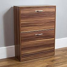 Vida Designs 2 Drawer Shoe Cabinet Cupboard Shoe Storage Organiser Pull Down Wooden Furniture Unit, Walnut