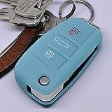 Soft Case Schutz Hülle Auto Schlüssel Audi A1 S1 A3 S3 A6 S6 R8 Q7 Klappschlüssel Key Remote / Farbe: Fluoreszierend Blau (leuchtet im Dunkeln!)