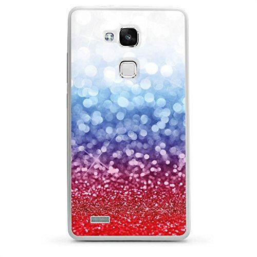 DeinDesign Huawei Ascend Mate 7 Hülle Silikon Case Schutz Cover Russian Glitter Glitzer Fahne