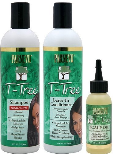Parnevu T-Tree Shampoo, Leave in Conditioner, and Scalp Oil 3pc Combo Plus 1 Free of Apple EYE Pencil Color: Silver Violet by Parnevu