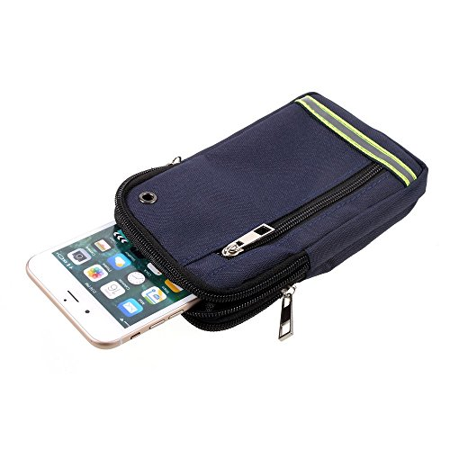 rpose Reflective Universal Belt Case with 3 Compartments for for => Huawei Ascend MATE7 Monarch > Blue (17 x 10 cm) ()