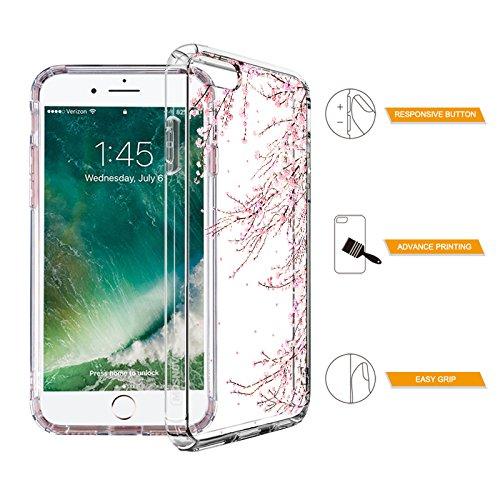 iPhone 8 Hülle, iPhone 7 Hülle, MOSNOVO Tropisch Palmblatt Muster TPU Bumper mit Hart Plastik Hülle Durchsichtig Schutzhülle Transparent für iPhone 7 (2016) / iPhone 8 (2017), iPhone 7 / 8 Case Cherry Blossoms