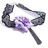 Yazilind Bijoux Gothique Lolita Elegant fleurs violettes Collier pour femme