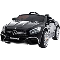 RunRunToys - Coche SL65 Eléctrico de 12V Mercedes para niños a partir de 3 años con pantalla display y entrada mp3, color negro (Herrajes Multimec 4012)
